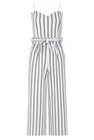 Quiz White And Navy Stripe Tie Belt Culotte Jumpsuit
