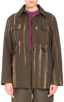 Proenza Schouler Four-Pocket Printed Canvas Coat, Army Green