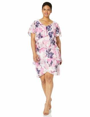 SL Fashions Women's Plus Size Short Sleeve Printed Tier Dress