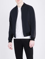 Sandro Leather-trim cotton-gabardine bomber jacket