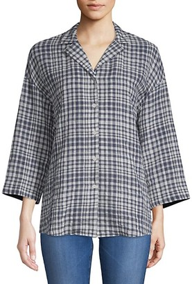 Lafayette 148 New York Analeigh Checkered Blouse