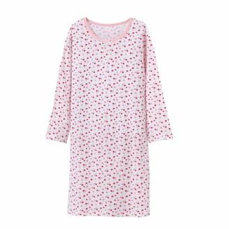 BLOMDES Kids Floral Nighties Cotton Long Sleeve Sleepshirt White for 7-8 Years