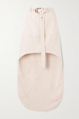 MATÉRIEL Asymmetric Belted Woven Mini Skirt - Cream