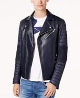 Armani Exchange Men's Faux-Leather Puffer-Sleeve Moto Jacket