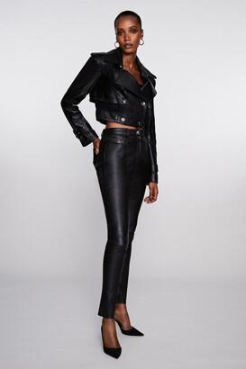 Karen Millen Stretch Leather Five Pocket Jean