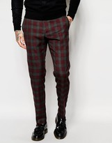 Asos Skinny Suit Pants In Red Plaid Check