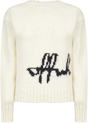 Off-White Logo Intarsia Wool-blend Sweater