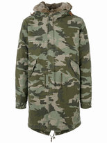 Mr & Mrs Italy - camouflage parka - men - Cotton/Leather/Polyester/Coyote Fur - M