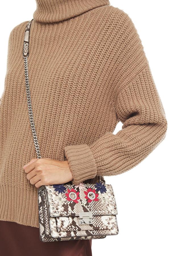 Thumbnail for your product : Rebecca Minkoff Christy Floral-appliqued Snake-effect Leather Shoulder Bag