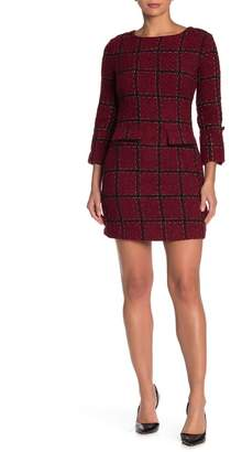 Alexia Admor Plaid Tweed 3/4 Length Sleeve Dress (Regular & Plus Size)