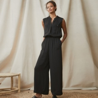 The White Company Washed Satin Jumpsuit, Black, 16