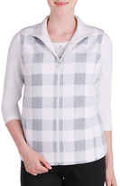 Allison Daley Petite Zip Front Vest with Stand Collar