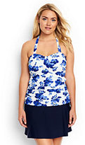 Lands' End Women's Plus Size Shaping Bandeau Tankini Top-White/Electric Blue Blossoms