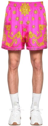 Versace Allover Print Silk Shorts