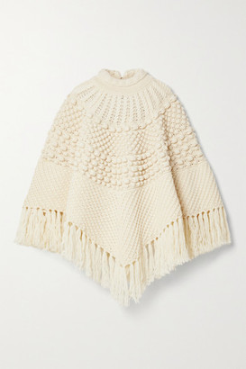 Saint Laurent Fringed Wool Poncho - Off-white