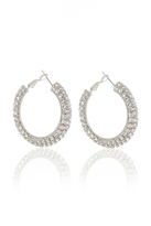 Quiz Silver Diamante Hoop Earrings
