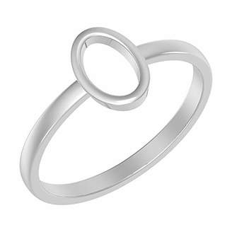 Solid .925 Sterling Silver Ring with Oval Design (Size-7)