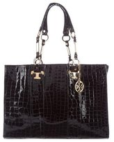 Tory Burch Nico Lux T Embossed Leather Tote