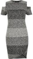 River Island Womens RI Plus grey stripe cold shoulder dress