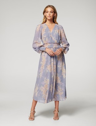 Forever New Evie Midi Dress - Lavender Trailing Blossom - 10