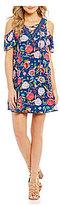 Jodi Kristopher Lace-Up V-Neck Floral-Print Cold-Shoulder Shift Dress