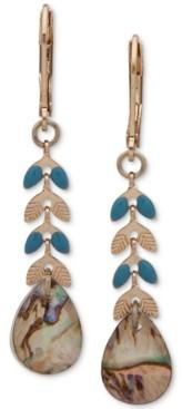 lonna & lilly Gold-Tone Blue-Green Linear Drop Earrings