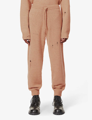 Helmut Lang Distressed-pattern wool, yak and cashmere-blend jogging bottoms