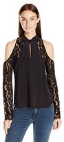 Nicole Miller Women's Silk CDC and Lace Keyhole Top