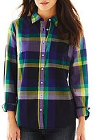 JCPenney jcpTM Print Button-Front Long-Sleeve Shirt