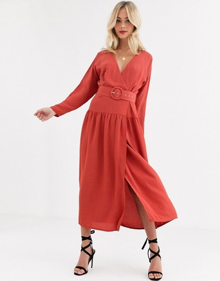 ASOS DESIGN wrap maxi dress with buckle belt