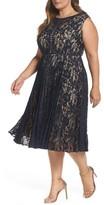 Gabby Skye Plus Size Women's Illusion Lace Pleat Midi Dress