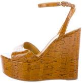 Sergio Rossi Glazed Cork Platform Wedge Sandals