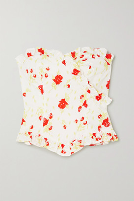 De La Vali Dolly Ruffled Floral-print Cotton-blend Poplin Bustier Top