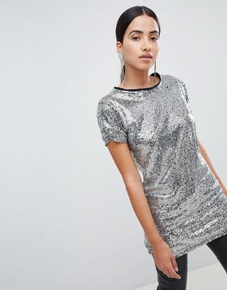 Lasula sequin longline t-shirt in silver