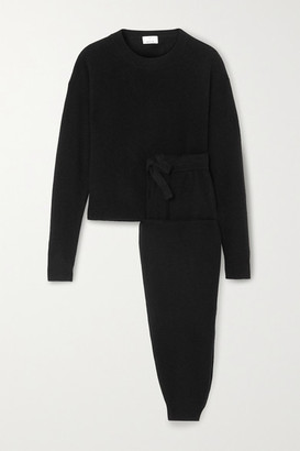 Allude Wool And Cashmere-blend Sweater And Track Pants Set - Black