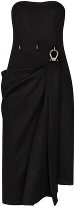 Prada Draped Buckle Detail Midi Dress