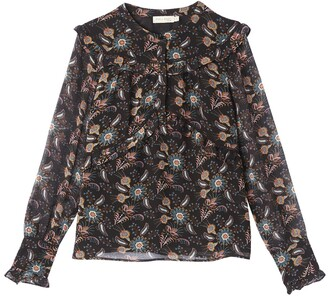 Floral Print High Neck Long-Sleeved Blouse