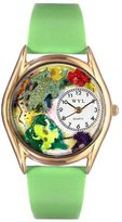 Whimsical Watches Kids' C0140003 Classic Gold Frogs Light Green Leather And Goldtone Watch