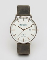 Barbour Whitburn Leather Watch In Black