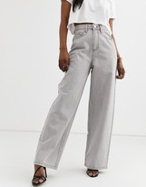 Asos Design DESIGN High rise 'relaxed' dad jeans in concrete gray wash