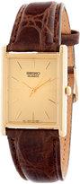 Seiko Rectangular Gold Leather Band Watch