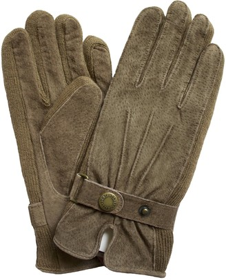Dents Ladies Short Suede Leather Gloves with Knitted Sides (Oatmeal Medium)