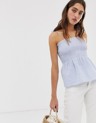Only smock gingham crop top-Purple