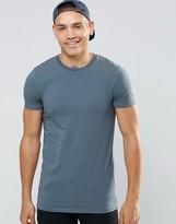 Asos Longline Muscle T-Shirt In Slate Blue