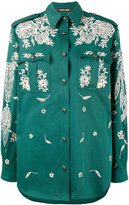 Roberto Cavalli floral embroidery shirt - women - Cotton/Spandex/Elastane - 38