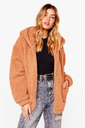 Nasty Gal Womens Teddy or Not Faux Fur Oversized Jacket - Beige - 8