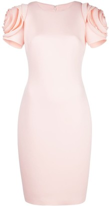 Badgley Mischka rose sleeve pencil dress