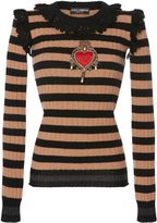 Dolce & Gabbana Embellished Striped Cashmere and Wool-Blend Sweater