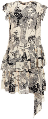 Alexander McQueen Ruffled Printed Silk Crepe De Chine Mini Dress