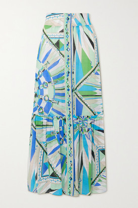 Emilio Pucci Tiered Printed Cotton-voile Maxi Skirt - Green